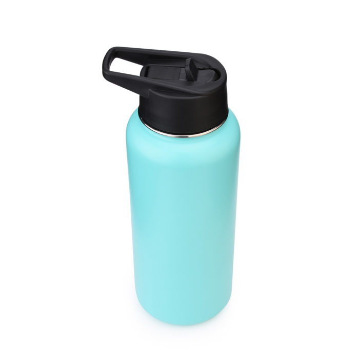 vacuum insulated stainless steel wide mouth bottle with straw lid