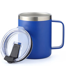 vacuum insulated mug with handle and flip lid