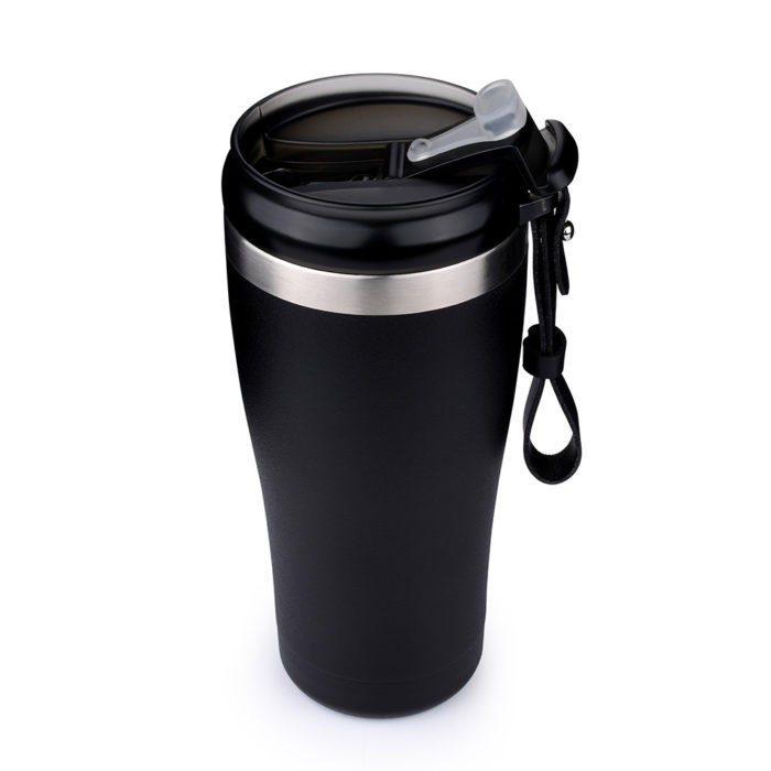 vacuum insulated mug with leather handle