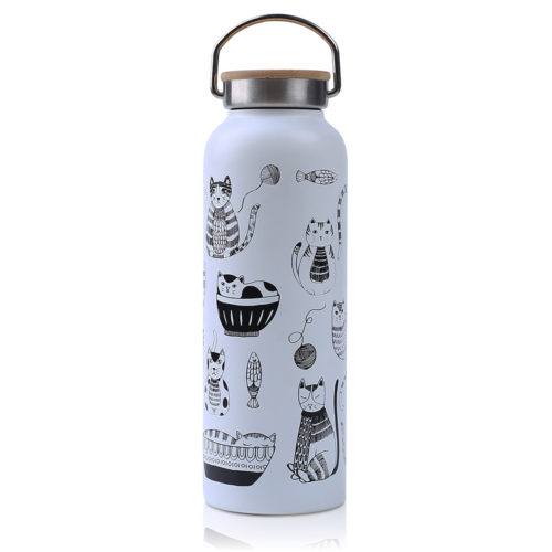 water bottle with bamboo lid