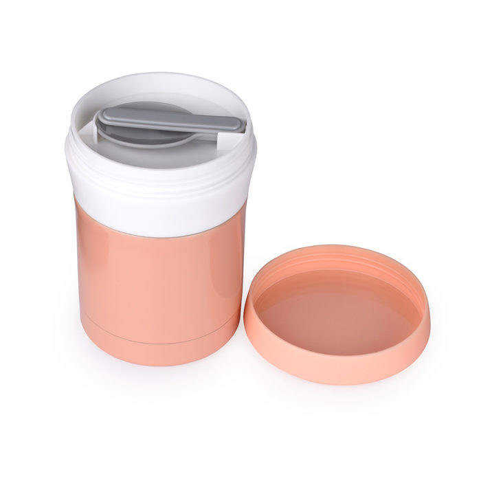 vacuum insulated stainless steel food jar with spoon