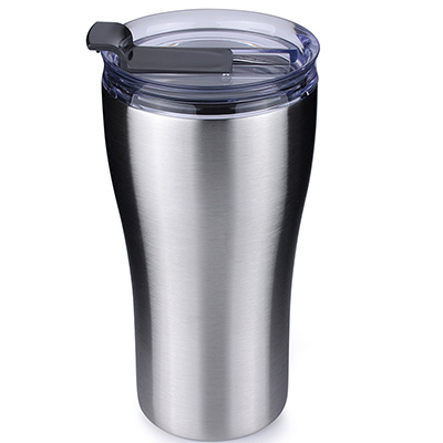 vacuum insulated double wall tumbler with clear flip lid