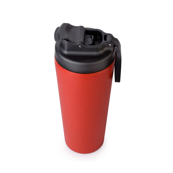 vacuum insulated stainless steel tumbler with flip lid and handle
