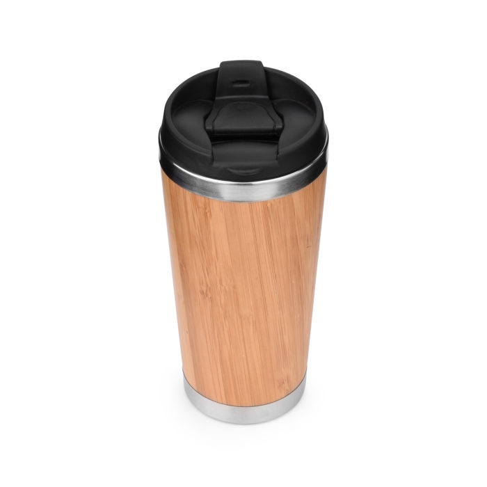 bamboo insulated stainless steel travel tumbler mug with flip lid
