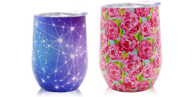 colorful stainless steel mugs with transfer printing decorating