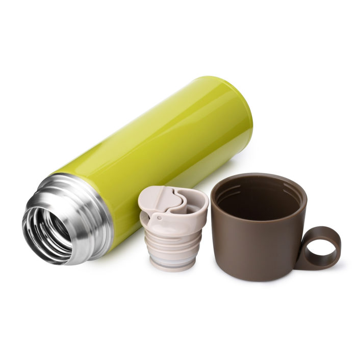 stainless steel water bottle with drink cup top