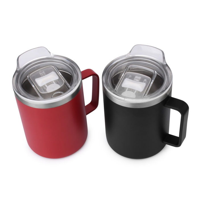 double wall vacuum sealed stainless steel cup mug with handle and clear lid