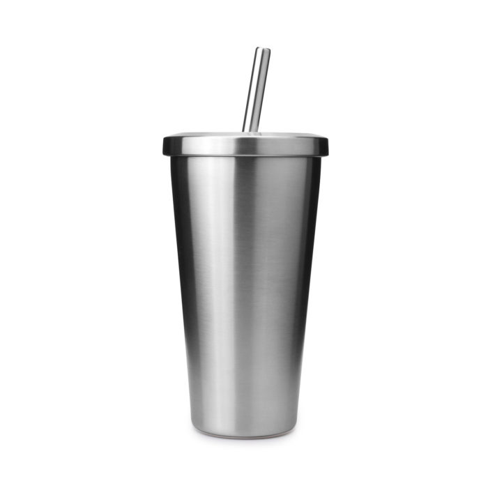 stainless steel car mug tumbler with stainless steel straw