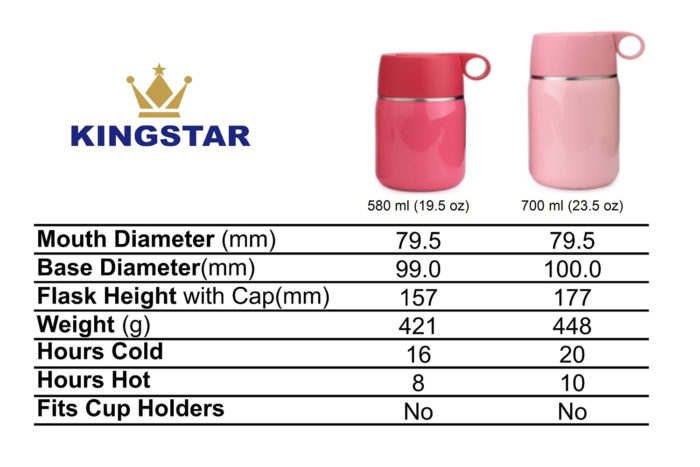 vacuum insulated stainless steel double wall food jar flask container size
