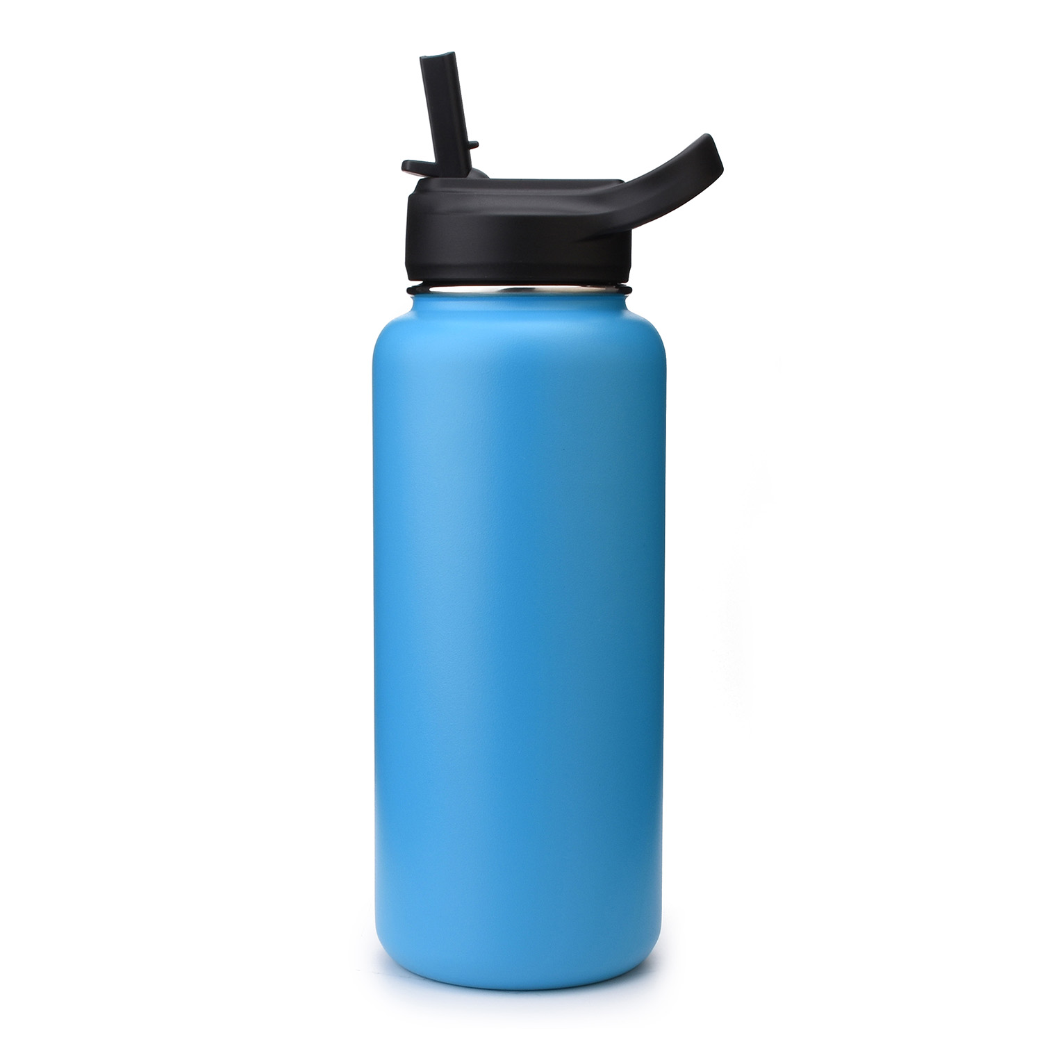 Water Drinking With Lid For Straw Flip Lids Cap Mouth Water Bottle With Straw~A!