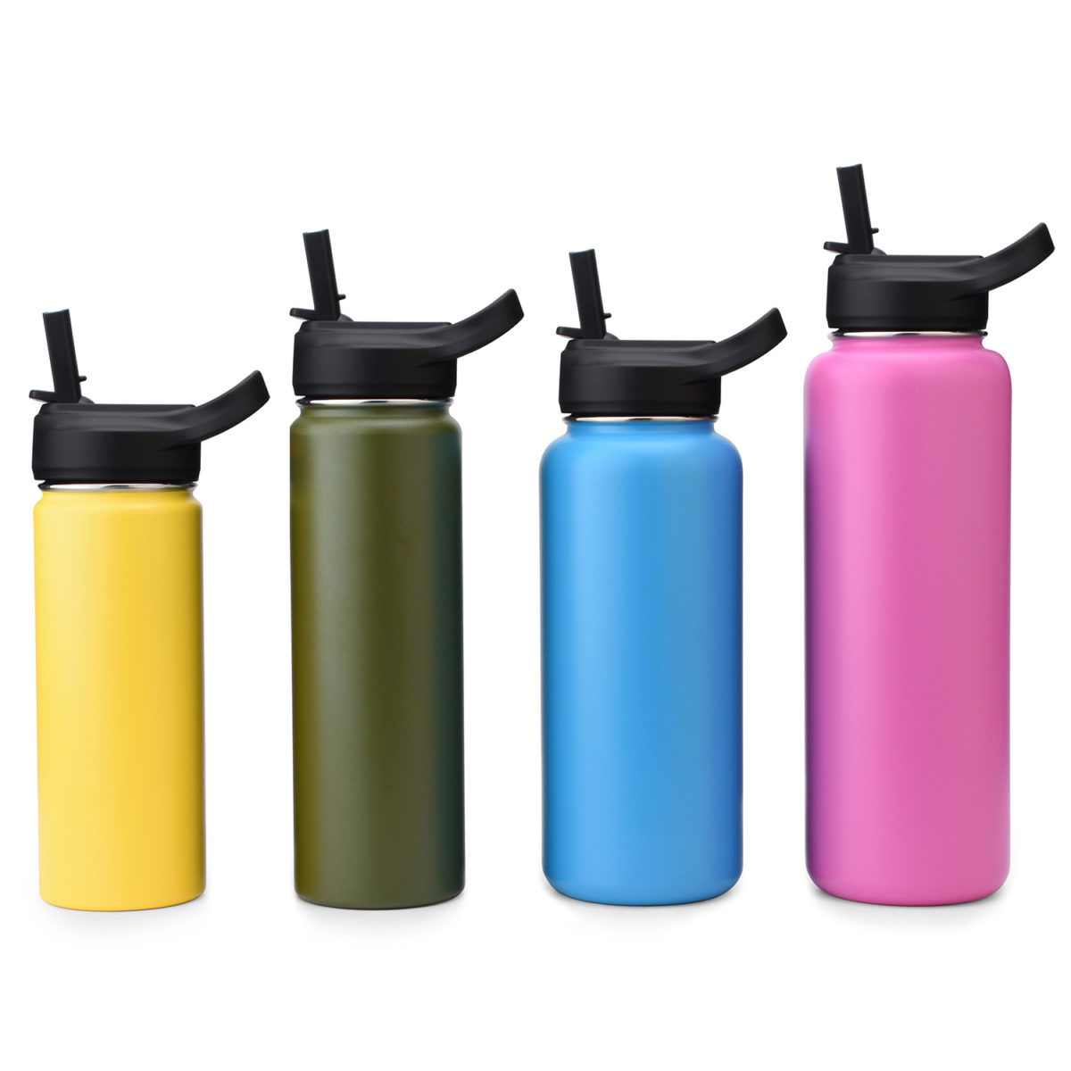 wide mouth water bottle with straw lid cap s113292-1