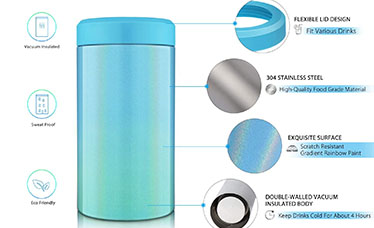 double wall vacuum insulated stainless steel can cooler