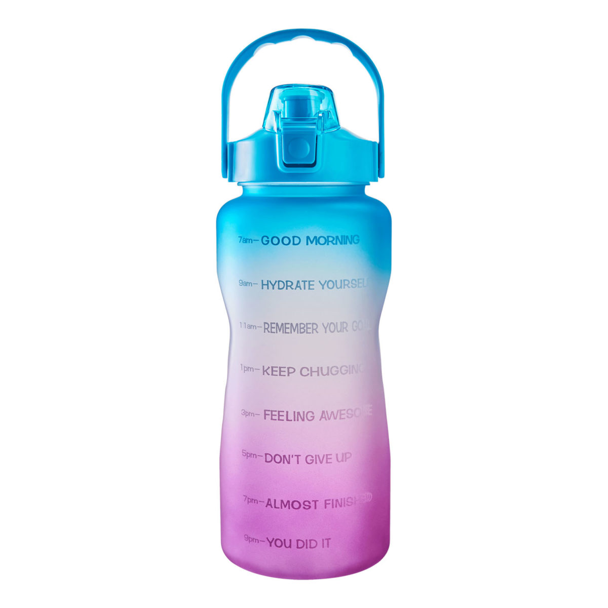 half gallon 64oz wide mouth water bottle with time marker and straw