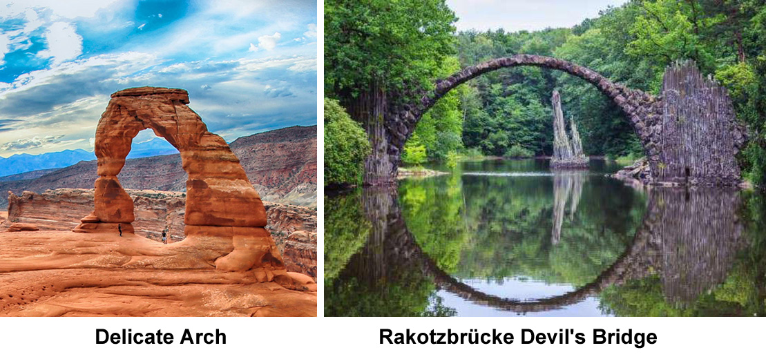 delicate arch and rakotz arch bridge