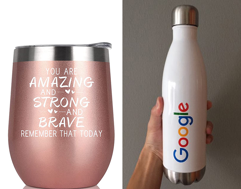 corporate gift water bottle with company logo