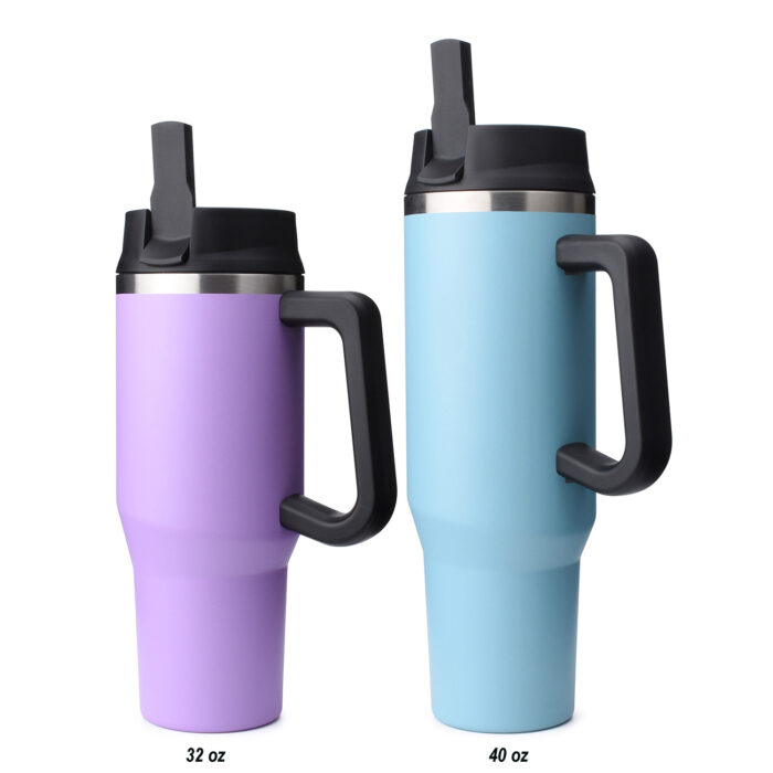 vacuum insulated stainless steel travel tumbler with handle and straw lid