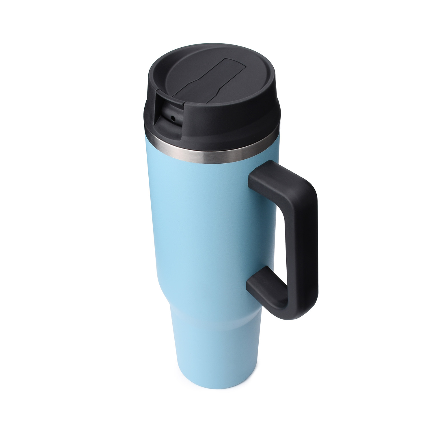 wholesale insulated stainless steel travel tumblers with handle and straw lid