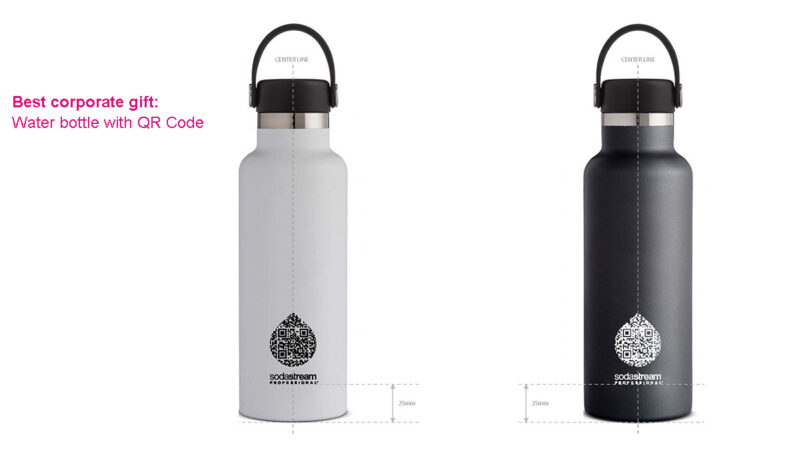 water bottle with QC code for corporate gift